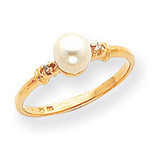 0.02ct. Diamond & Cultured Pearl Ring Mounting 14k Gold Polished Y1859