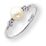 Polished .02ct. Diamond & Cultured Pearl Ring Mounting 14k White Gold Y1860