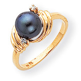 Black Cultured Pearl & Diamond Ring 14k Gold Y1863BP/AA