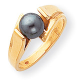 Black Cultured Pearl Ring 14k Gold Y1867BP
