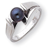 6mm Black Cultured Pearl ring 14k White Gold Y1868BP