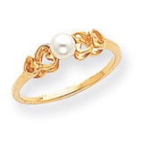 Cultured Pearl Ring Mounting 14k Gold Polished Y1869