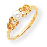 4mm Cultured Pearl Ring 14k Gold Y1869PL