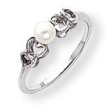 4mm Cultured Pearl ring 14k White Gold Y1870PL