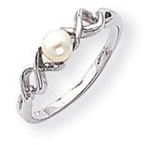 4mm Cultured Pearl ring 14k White Gold Y1872PL