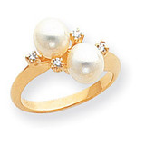 0.06ct. Diamond & Cultured Pearl Ring Mounting 14k Gold Polished Y1875