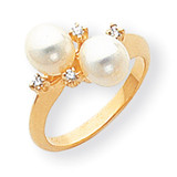 6mm Cultured Pearl Diamond ring 14k Gold Y1875PL/AA