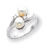 Polished .05ct. Diamond & Cultured Pearl Ring Mounting 14k White Gold Y1880
