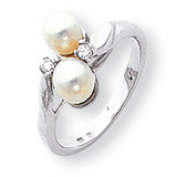5mm Cultured Pearl Diamond ring 14k White Gold Y1880PL/AA