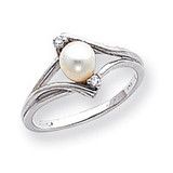 Polished .03ct. Diamond & Cultured Pearl Ring Mounting 14k White Gold Y1882