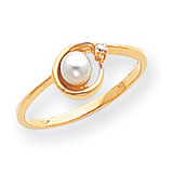 0.02ct. Diamond & Cultured Pearl Ring Mounting 14k Gold Polished Y1890