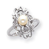Polished .02ct. Diamond & Pearl Scroll Ring Mounting 14k White Gold Y1907