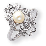 Cultured Pearl & Diamond Ring 14k Gold Y1907PL/AA