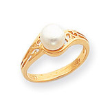 Cultured Pearl Filigree Ring Mounting 14k Gold Polished Y1918