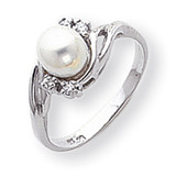 6mm Cultured Pearl Diamond Ring 14k White Gold Y1922PL/AA