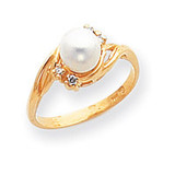 Polished .06ct. Diamond & Cultured Pearl Ring Mounting 14k Gold Y1923