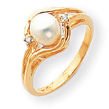 6mm Cultured Pearl Diamond ring 14k Gold Y1924PL/AA