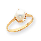 Cultured Pearl Ring Mounting 14k Gold Polished Y1926