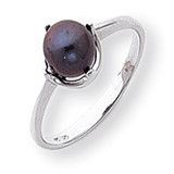 Black Cultured Pearl Diamond Cultured Pearl ring 14k White Gold Y1927BP