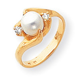 Cultured Pearl & Diamond Ring 14k Gold Y1932PL/AA