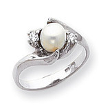 Polished .08ct. Diamond & Cultured Pearl Ring Mounting 14k White Gold Y1933