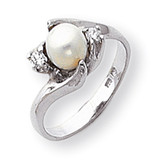 6mm Cultured Pearl Diamond ring 14k White Gold Y1933PL/AA