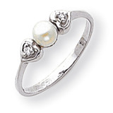 4.5mm Cultured Pearl Diamond ring 14k White Gold Y1937PL/AA