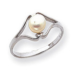 Polished Cultured Pearl Ring Mounting 14k White Gold Y1939