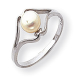 Cultured Pearl Ring 14k White Gold Y1939PL