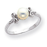 Polished Cultured Pearl Ring Mounting 14k White Gold Y1941