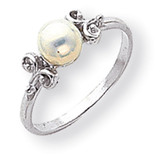 5.5mm Cultured Pearl ring 14k White Gold Y1941PL