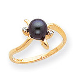 0.02ct. Diamond & Cultured Pearl Ring Mounting 14k Gold Polished Y1942