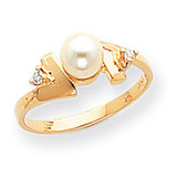 0.04ct. Diamond & Cultured Pearl Ring Mounting 14k Gold Polished Y1948