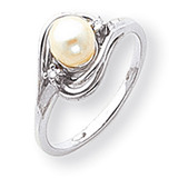 5.5mm Cultured Pearl Diamond ring 14k White Gold Y1969PL/AA