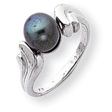 7mm Black Cultured Pearl ring 14k White Gold Y2003BP