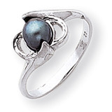 5.5mm Black Cultured Pearl ring 14k White Gold Y2007BP