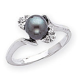 Polished .07ct. Diamond & Cultured Pearl Ring Mounting 14k White Gold Y2015