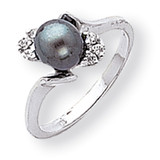 6mm Black Cultured Pearl Diamond ring 14k White Gold Y2015BP/AA