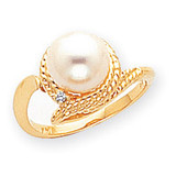 0.01ct. Diamond & Cultured Pearl Ring Mounting 14k Gold Polished Y2026