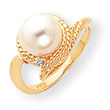 8.5mm Cultured Pearl Diamond ring 14k Gold Y2026PL/AA