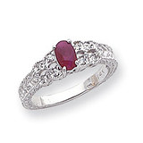 6x4mm Oval Ruby Diamond ring 14k White Gold Y2065R/AA