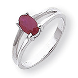 Polished 6x4 Oval Gemstone Ring Mounting 14k White Gold Y2074