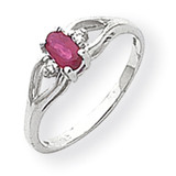 5x3mm Oval Ruby & Diamond Ring 14k White Gold Y2080R/AA