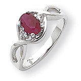 6x4mm Oval Ruby Diamond ring 14k White Gold Y2086R/AA
