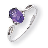 Polished 7x5 Oval Gemstone Ring Mounting 14k White Gold Y2198