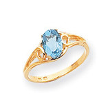 6x4mm Oval Blue Topaz ring 14k Gold Y2205BT