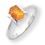 Polished 7x5 Oval Gemstone Ring Mounting 14k White Gold Y2220