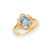 7x5mm Oval Blue Topaz ring 14k Gold Y2227BT