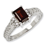 7x5mm Garnet & Diamond Ring 14k White Gold Y2266GA/AA