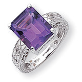 12x10mm Emerald Cut Amethyst Diamond ring 14k White Gold Y2270AM/AA